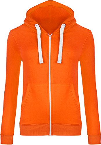 WearAll Women's Zip Up Long Sleeve Plain Hoodie Top - Fluorescent Orange - US 8 (UK 12)