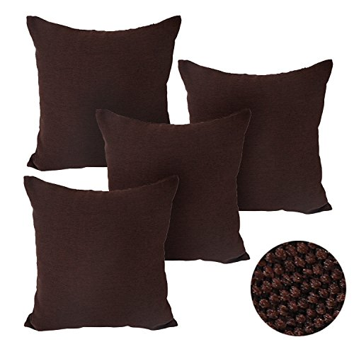 Deconovo Woven Fine Faux Linen Throw Cushion Case Pillow Cover With Invisible Zipper For Sofa 18x18 Inch Dark Brown 4Pcs (Chocolate Throw Pillows compare prices)