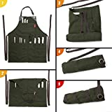 Under NY Sky Knife-Roll Forest Green Apron