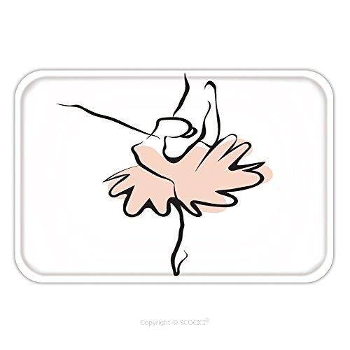 Flannel Microfiber Non-slip Rubber Backing Soft Absorbent Doormat Mat Rug Carpet Vector Illustration Of Classical Ballet Figure Ballet Dancer 267902165 for Indoor/Outdoor/Bathroom/Kitchen/Workstations