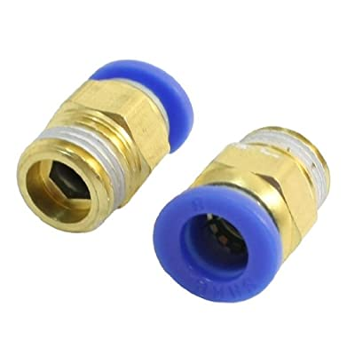 """2pcs 1/4""""PT Male Thread to 8mm Air Pneumatic Pipe Quick Joint Coupler"""