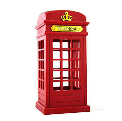 Vintage London Telephone Booth Night Lamp , Two-in-one Landline Phones with Designed USB Charging LED Touch Dimmable Night Light for Bedroom Dormitory Illumination Bar or Novelty Birthday Gift(Red) -