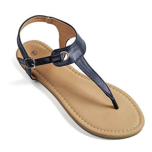 - Soles & Souls Flat T-Strap Thong Sandal for Women Navy Blue 08