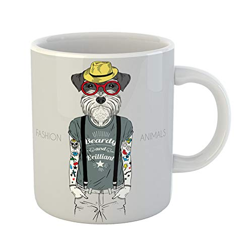 Emvency Coffee Tea Mug Gift 11 Ounces Funny Ceramic Animal of Dog Hipster Tattoo Dressed Up in Saying Schnauzer Gifts For Family Friends Coworkers Boss Mug]()