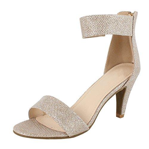 Metallic Open Toe Heels - 1