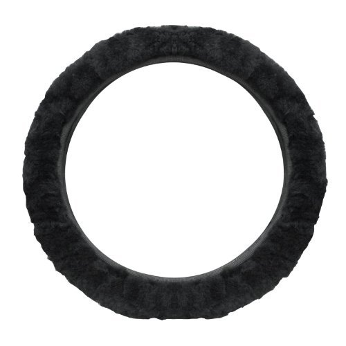 cutequeen trading Sheepskin Stretch-On Steering Wheel Cover Black (Steering Cover Wheel Blue With)