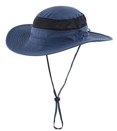 Connectyle Outdoor Mesh Sun Hat Wide Brim Sun Protection Hat Summer Fishing Hunting Hiking Gardenig Hat Navy - Bucket Mesh Hats Side