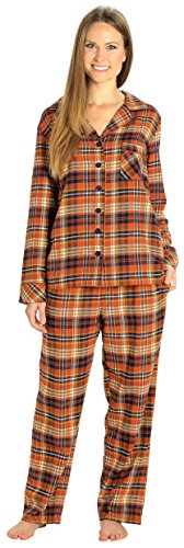 EVERDREAM Sleepwear Womens Flannel Pajamas, Long 100% Cotton Pj Set,Size Small Brown Rust