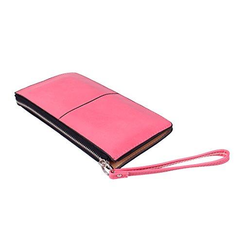 Mujer Carteras Cuero PU Leather tarjeta Carteras y monederos Piel Bolso Billetera Card Holders de gran capacidad cuero de la cartera Solido Simple Cremallera Multi Card Organizador mano y clutches Rosa Rojo