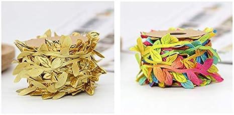 D/écorations de sapin de No/ël Silver Feuilles dor/ées Monbedos Guirlande de fleurs artificielles en tissu de 0,9 m Couronne de rotin