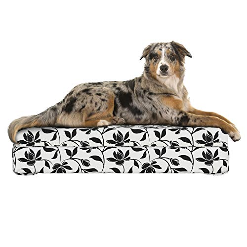 (Lunarable Ivory and Black Dog Bed, Monochrome Arrangement of Magnolia Flowers with Petal Silhouettes Abstract, Dog Pillow with High Resilience Visco Foam for Pets, 32