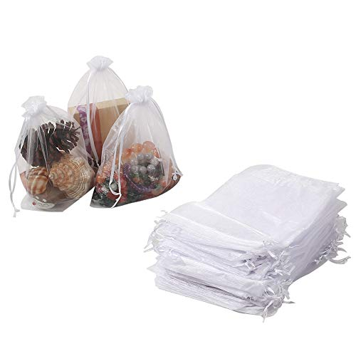 """HRX Package 100pcs Sheer Organza Bags White, 6.5"""" x 8.9"""" Christmas Wedding Shower Party Favors Gift Drawstring Bags Large Mesh Jewelry Pouches"""