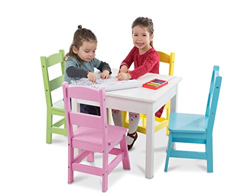 """Melissa & Doug Kids Furniture, Wooden Table & 4 Chairs, White Table, Pastel Pink, Yellow, Green, Blue Chairs, 20.5"""" H x 23.5"""" W x 20"""" L"""