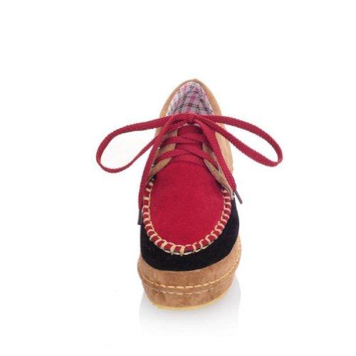 Piede Di Fascino Nuove Scarpe Da Donna Con Zeppa Tacco Alto Rosso Scuro