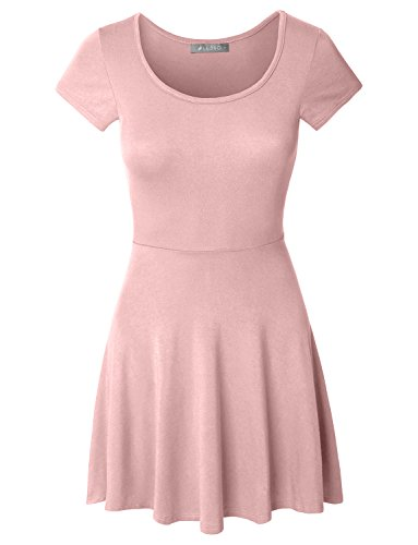 LE3NO Womens Casual Short Sleeve Fit and Flare Skater Dress