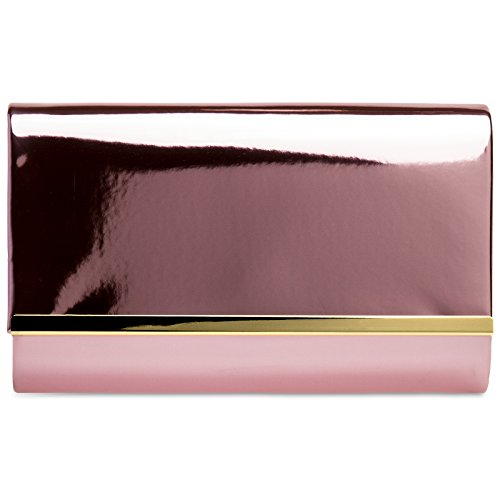 Patent Enevlope Chain Pink CASPAR Bag Clutch Stylish Leather and Ladies TA378 Evening Metallic with qwwHtz1