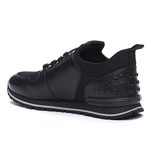 Tods Mens Chaussures En Cuir Et En Tissu Sneaker Slip-on Noir