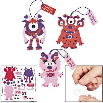 Valentine Monster Ornament Craft Kit (12 Count) Craft kit/VALENTINES DAY/