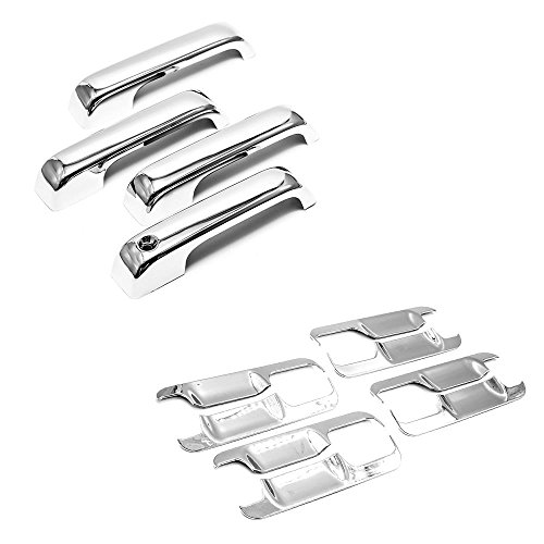 Molded Abs Handle (Sizver Chrome Combo Set ABS Plastic Door Handle+Bowl Covers For 2015-2017 F150 Crew CabWithout Keypad Cutout)