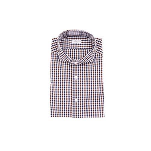 Bagutta Men's Siena08536whitebrown White Cotton Shirt