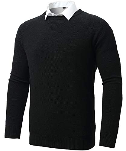 FLY HAWK Crew Neck Sweaters for Men, Regular Fit Basic Cable Knitted Office Dress Pullover Sweatshirts Shirts Black M