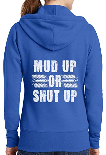 Womens Mud Up Shut Up Full Zip Hoodie, Royal, 4X