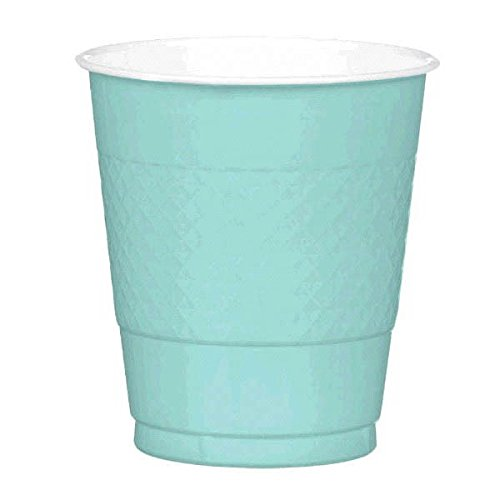 Party Perfect Disposable Plastic Cups Tableware, Robin's Egg Blue, 12 Ounces, Pack of 20 by Amscan