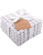 KAF Home Pantry 100% Cotton Checkered Grid Dish Cloths | Set of 6, 12 x 12 Inches | Absorbent and Machine Washable | Perfect for Cleaning Counters, and Any Household Spills