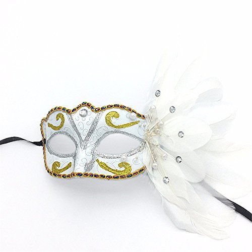 Mardi Gras Party Masquerade Mask,Catwalk Makeup Dance mask Carnival Christmas Halloween Painted Feather mask Party Half face mask White Prom -