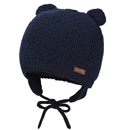 Cute Baby Beanie Earflaps Hat - Infant Toddler Soft Warm Knitted Hat for Girls Boys Kids Winter Hat with Cotton Lining(Navy Blue,S)