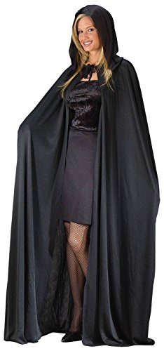 "Adult 68"" Black Hooded Cape - Black"