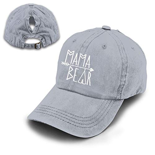 OASCUVER Mama Bear Denim Hat Adjustable Female Stretch Baseball Hats (Ponytail Gray, One Size) -