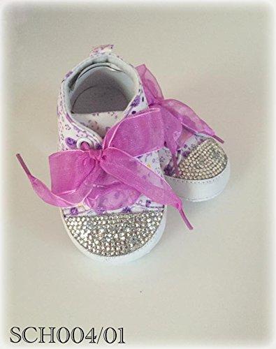 Luxus Baby Schuhe mit Strasssteine, Glitzer , Weiß, Lilla, Geschenk zur Taufe oder Geburt (6-12M)