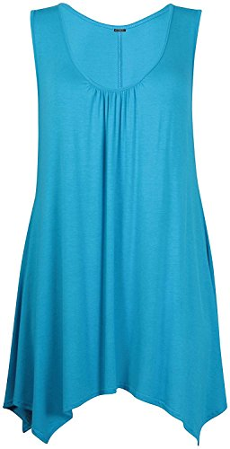 GirlzWalk Women's Ladies Ruched Plain Neck Long Vest Tee Stretchy Sleeveless Top (Turquoise, ML 8-10) (Sleeveless Top Turquoise)