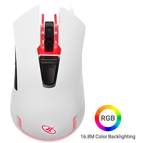 Rosewill RGB White Gaming Mouse, RGB LED Lighting, Braided Gaming Mice for Computer/PC/Laptop/Mac. Adjustable 4000 DPI Optical Gaming Sensor and Comfortable Ergonomic Design (ION D21)