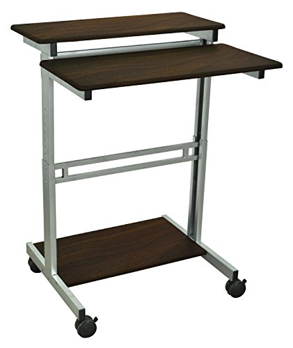Luxor Mobile Stand-Up Computer Workstation With Silver Gray Frame And Dark Walnut Laminated Shelves Computer, -