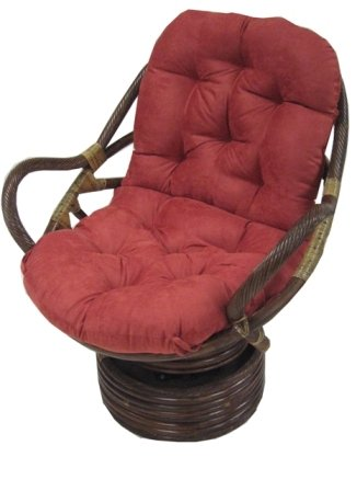 rattan coil base swivel rocker papasan chair with micro suede