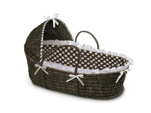 Badger Basket Moses Basket with Polka Dot Hood and Bedding, Espresso/Brown by Badger Basket   B00NZEJADG
