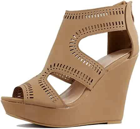 e9e16beb960d Guilty Heart Womens Gladiator Strappy Cut Out Open Toe Platform -  Comfortable High Heel Wedge Sandals