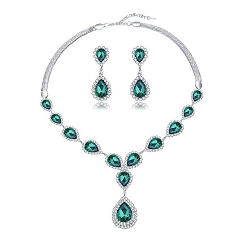 Paxuan Womens Silver Plated Teardrop Green Crystal Wedding Bridal Jewelry Set Teardrop Pendant Necklace Drop Dangle Earrings Set