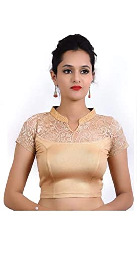 Stand Collar Blouse Designs : Sanmati fashion stand collar designer ready made saree blouse for