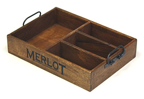 Mountain Woods 4 Section Merlot Vintage Style Mango Wood Organizer Tray / Caddy with Metal Handles