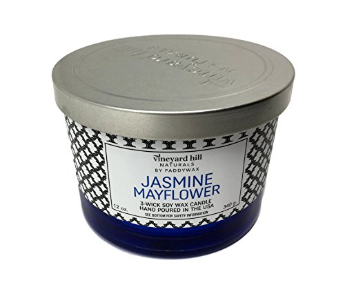 - Vinyard Hill Naturals by Paddywax Jasmine Mayflower Scented Large 3 Wick Soy Wax Candle