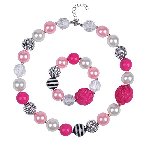 ICObuty Chunky Bubblegum Necklace and Bracelet Set for Kids Girls (Flower)