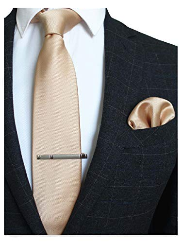 Tie Mens Gold - JEMYGINS Gold Formal Necktie and Pocket Square, Hankerchief and Tie Bar Clip Sets for Men