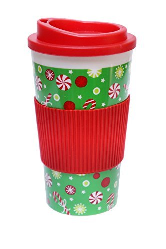 Christmas-Themed Double-Wall Travel Coffee/Tea Tumbler Cup with Lid