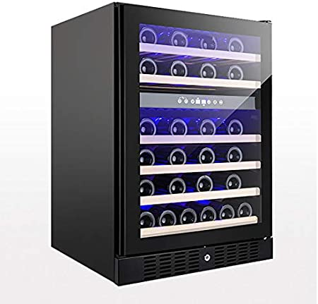 VIY Nevera vinos Nevera para vinos con Puerta acristalada 46 Botellas de Vino iluminación Interior 6 baldas 2 Zonas de frío antivibración Negro