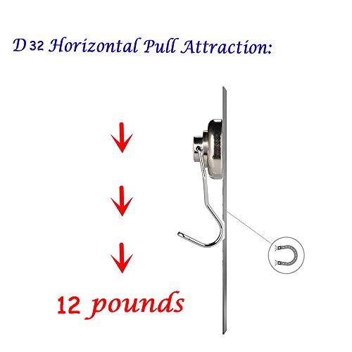 50lb Magnetic Hooks, Makone 1.26'' D32 Heavy Duty Rotating Swivel Swing Strong Neodymium Magnet Hooks (5 Packs) by Makone (Image #2)