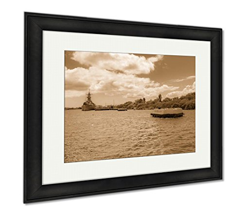 Ashley Framed Prints The Uss Arizona Memorial In Hawaii USA, Wall Art Home Decoration, Sepia, 34x40 (frame size), Black Frame, AG6407122