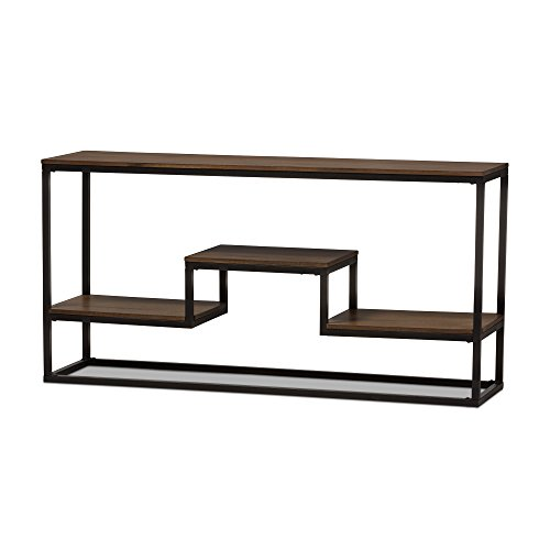 Baxton Studio Yves Rustic Industrial Style Antique Black Textured Finished Metal Distressed Wood Console Table
